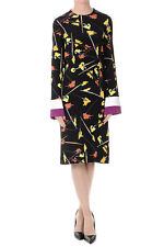 EMILIO PUCCI New Woman Black Printed Silk Long sleeve Dress made in Italy