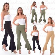 Ladies Frill Flared Crepe Wide Leg High Waisted Trousers Ruffle Bottom Pant 8-14