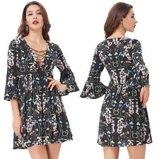 Sexy Women's Floral 3/4 Bell Caped sleeves Deep V-Neck Mini Dress
