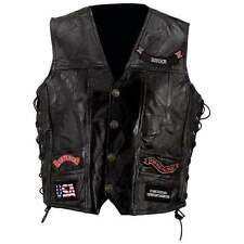 Diamond Plate Rock Design Genuine Buffalo Leather Vest