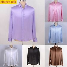 Mens 19Momme 100% Pure Silk Business Dress Shirts Long Sleeve Button Down Collar