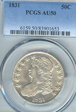 1831 Capped Bust Half Dollar PCGS AU 50  Very Lustrous early Type Coin