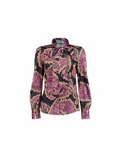 Ladies Black/Pink Paisley Print Satin Pussy Bow Blouse Long Sleeve Womens Shirt