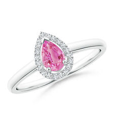 Pear Shape Pink Sapphire Cocktail Ring With Diamond Halo 14k Gold Size 3-13
