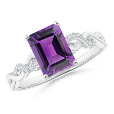 Solitaire Emerald Cut Amethyst Diamond Infinity Twist Ring Silver/ 14k Gold