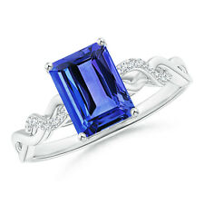 Solitaire Emerald Cut Tanzanite Diamond Infinity Twist Ring Silver/ 14k Gold