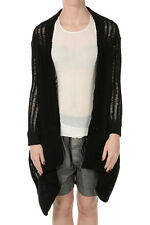 RICK OWENS New Woman Black Knit Cardigan Sweater cotton blend Made in Italy