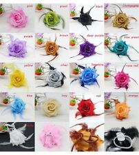 HOT 17colour Rose WRIST Flower Feather Glitter Headdress Corsage Hairband Brooch