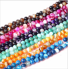 """Lots 15"""" Strand Natural Stripe Agate Gemstone Spacer Loose Beads Finding 4-10MM"""