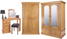 Dressing Table & 2-3 Door Wardrobe with Mirror Pine Antique Lacquer Furniture