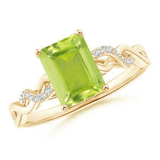 Solitaire Emerald Cut Peridot and Diamond Engagement Ring 14k Yellow Gold