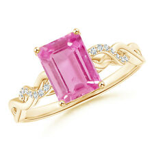Solitaire Emerald Cut Pink Sapphire Diamond Engagement Ring 14k Yellow Gold