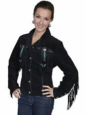 Scully Leather Womens Beaded Fringe Conchos Boar Suede Jacket Black