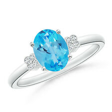 Natural Solitaire Oval Blue Topaz Ring with Diamond Floral Accent 14k White Gold