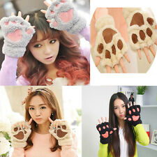 Cute Warmer Mitten Fuzzy Half Finger Gloves Thick Bear's Paw Furry Mitts Fashion