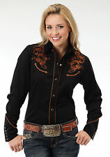 Roper Classic Tooling Ladies Black Poly/Rayon Old West L/S Shirt