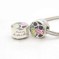New Authentic Genuine S925 Sterling Silver Summer Fun Mixed Enamel Charm