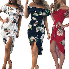 Sexy Women Ruffle Off Shoulder Floral Front Split Cocktail Party Dress Clever