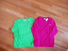 NWT Hollister Cable Knit V Neck Sweater Green or Dark Pink