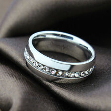 Womens Mens Stainless Steel Ring Wedding Band crystal Engagement Jewelry