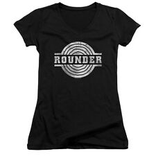 ROUNDER MUSIC RETRO LOGO Licensed Juniors V-Neck Tee Shirt