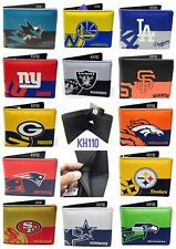 NFL,MLB,NBA,NHL Team Mens Printed logo Leather Bi-fold Wallet
