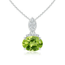 """Natural Oval Peridot Solitaire Pendant Necklace with Diamond 14k Gold 18"""" Chain"""