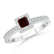 Princess Garnet Stackable Ring With Diamond Halo 14K White Gold Size 3-13