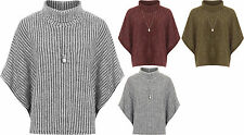 Womens Knitted Poncho Cape Top Ladies Necklace Cowl Neck Baggy Short Sleeve 8-24