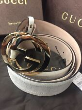 NWT Authentic Gucci Men's White Monogram With Gold Buckle Belt 142930 KGDHN