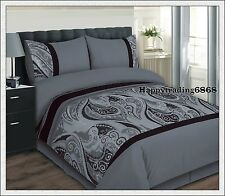 280TC Jacquard Weave Charcoal Grey KING QUEEN DOUBLE QUILT DOONA DUVET COVER SET
