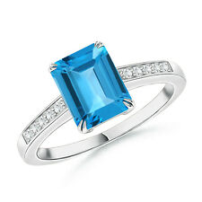 Emerald Cut Swiss Blue Topaz Solitaire Ring with Diamond in White Gold Size 3-13