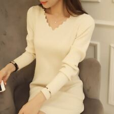 Long Sleeve Cute Knitting Thin Solid Knee Length V Neck Sheath Dress