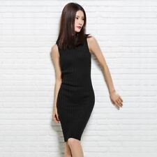 Women Spring Summer Fashion Knee Length Sleeveless Solid Color Dress