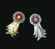 Best of Show Gold or Silver with Blue and Red Crystals Pendants Charms