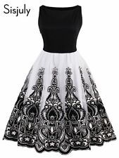 Women Vintage Elegant Cocktail Party Dress Sleeveless Flocking Embroidery A-Line