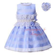 Girls Lace Party Dress and Headband Set Flower Girl Kids Wedding Pageant Holiday