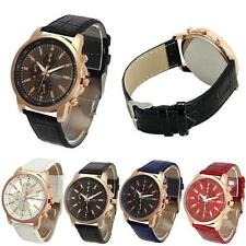 Women Classic Faux Chronograph Leather Quartz Plated Round Ladies Crystals Watch