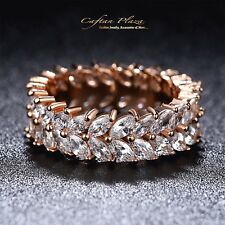 Women's Ring Eternity Ring 18 k Rose gold plt with Cubic Zirconia AAA New