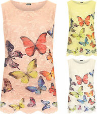 Plus Womens Floral Butterfly Print Sleeveless Lace Lined Top Ladies Vest Crochet