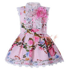 Girl Flower Shirt and Braces Skirt Set Toddler Kids Lace Princess Pageant Outfit