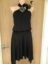Next Black Bead Halterneck Dropped Waist Dress 1920's Flapper Cocktail Size 8