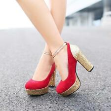 Womens Oxford Faux suede Platform Block High heel Pull on Ankle Strap Pumps #