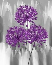 Purple Gray Modern Floal Home Decor Wall Art Home Decor Matted Picture