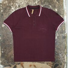 New Mens John Galliano Burgundy Polo Shirt Embroidered Logo Size L BNWT RRP £240
