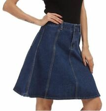 Spring Fashion Knee Length Blue Color Cotton Plus Size Denim Skirt For Women