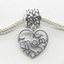 Authentic Genuine S925 Sterling Silver Dangle heart MOM Charm Mother's day gift