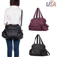 Versatile Women Handbag Satchel Tote Purse Washed Leather Messenger Shoulder Bag