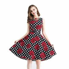 Women Cotton Fabric Floral Retro Swing Casual Dress With Belt