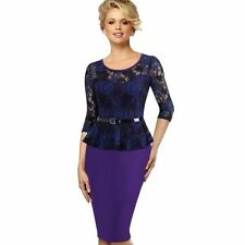 Vintage Floral Lace Round Neck ear To Work  Pencil Women Dress With Belt